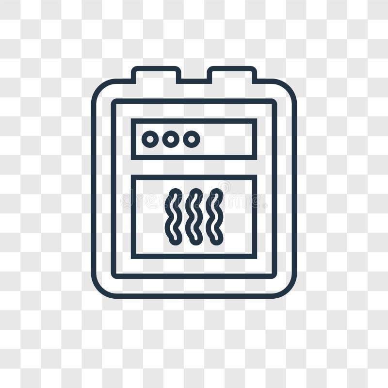 Icono linear del vector del concepto del horno aislado en backgrou transparente ilustración del vector