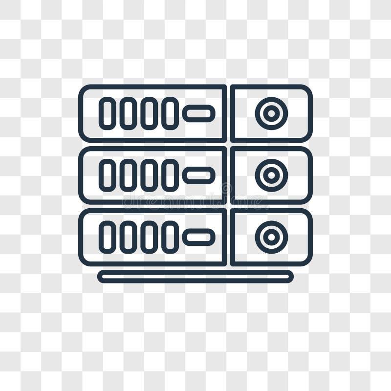 Icono linear del vector del concepto del servidor aislado en backgr transparente ilustración del vector