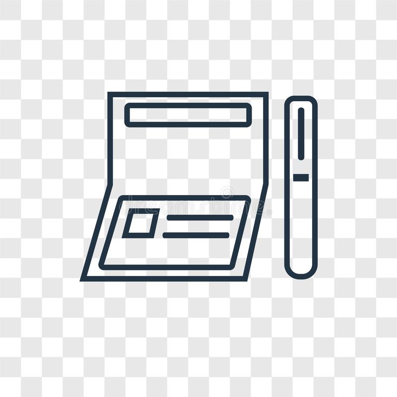 Icono linear del vector del concepto del talonario de cheques aislado en el CCB transparente ilustración del vector