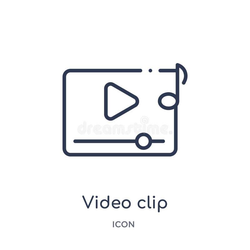 Icono linear del videoclip de la colección del esquema del cine Línea fina vector del videoclip aislado en el fondo blanco videoc ilustración del vector
