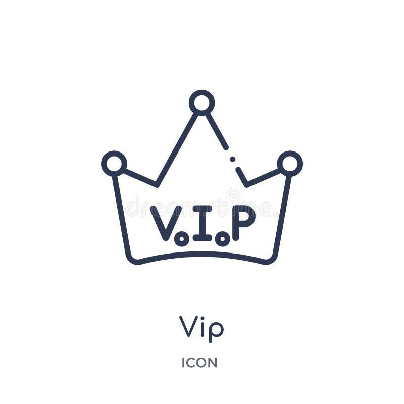 Icono linear del vip de la colección de lujo del esquema Línea fina icono del vip aislado en el fondo blanco ejemplo de moda del  libre illustration