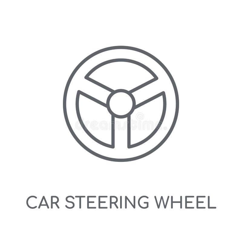 icono linear del volante del coche Coche moderno del esquema que dirige whee ilustración del vector