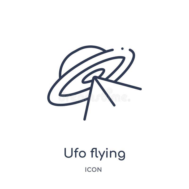 Icono linear del vuelo del UFO de la colección del esquema de la astronomía Línea fina vector del vuelo del UFO aislado en el fon stock de ilustración