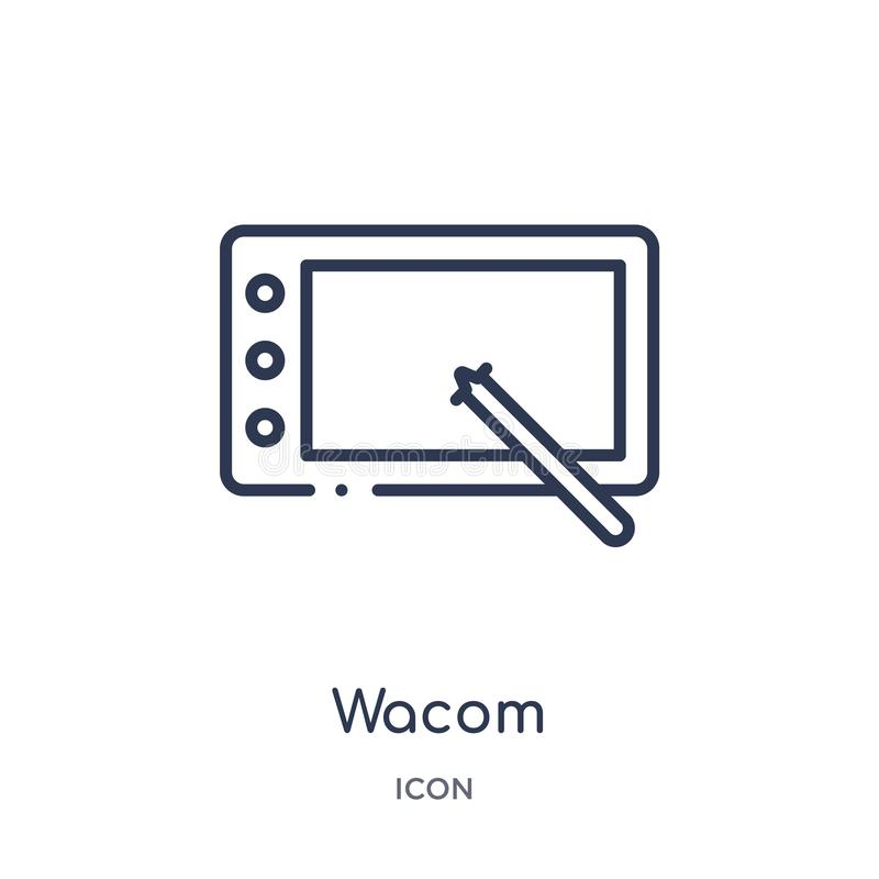 Icono linear del wacom de la colección del esquema del hardware Línea fina icono del wacom aislado en el fondo blanco ejemplo de  libre illustration