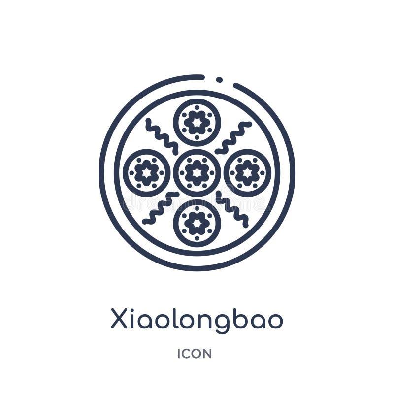 Icono linear del xiaolongbao de la colección asiática del esquema Línea fina vector del xiaolongbao aislado en el fondo blanco Xi libre illustration