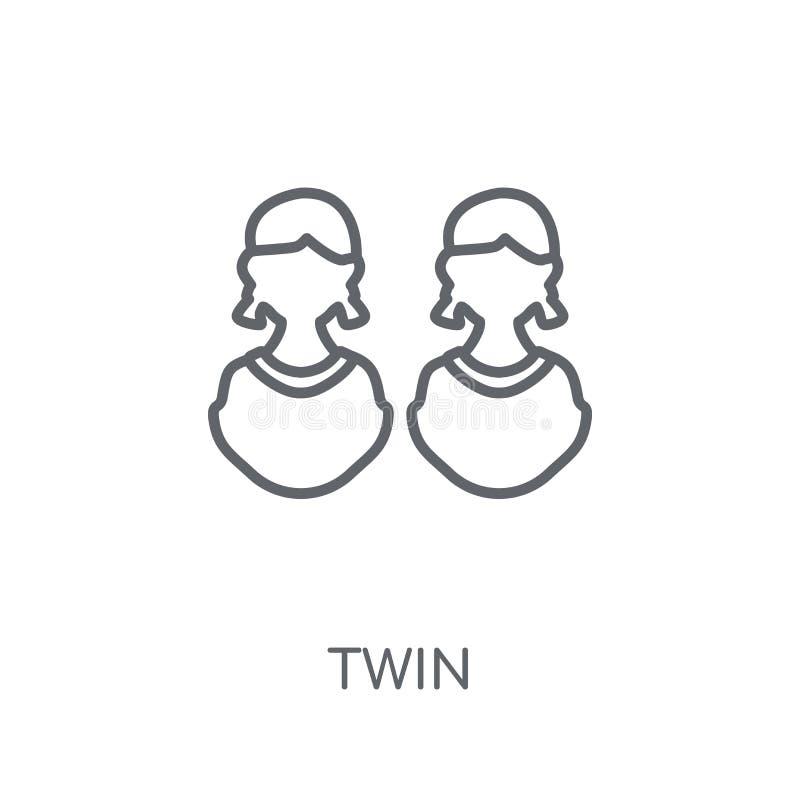 icono linear gemelo Concepto gemelo del logotipo del esquema moderno en la parte posterior blanca ilustración del vector