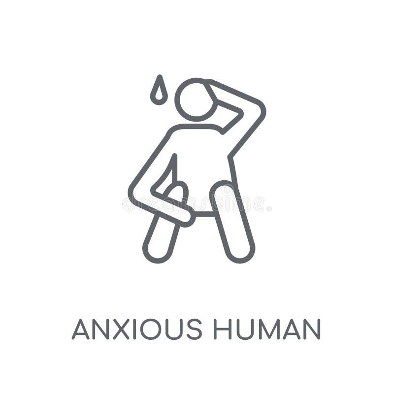icono linear humano ansioso Estafa humana ansiosa del logotipo del esquema moderno stock de ilustración