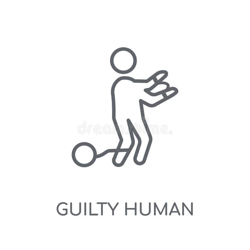 icono linear humano culpable Conce humano culpable del logotipo del esquema moderno libre illustration