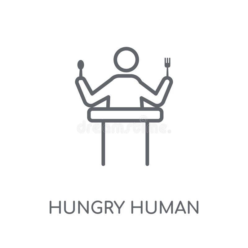 icono linear humano hambriento Conce humano hambriento del logotipo del esquema moderno stock de ilustración