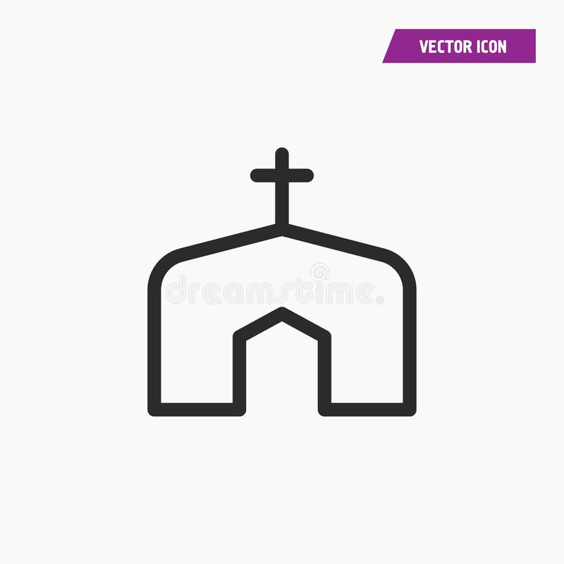Icono linear negro de la iglesia del estilo con la cruz ilustración del vector