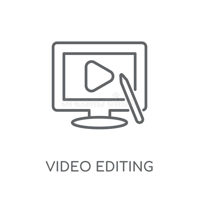 Icono linear que corrige video Estafa video del logotipo del esquema que corrige moderno libre illustration