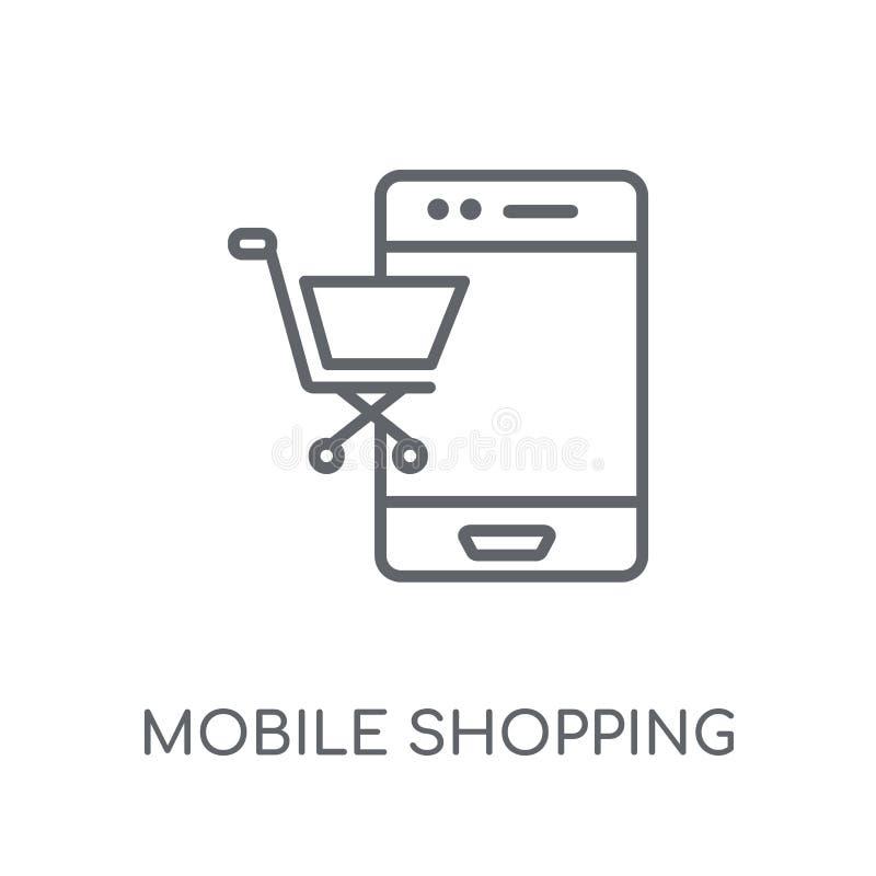 Icono linear que hace compras móvil Logotipo móvil de las compras del esquema moderno ilustración del vector