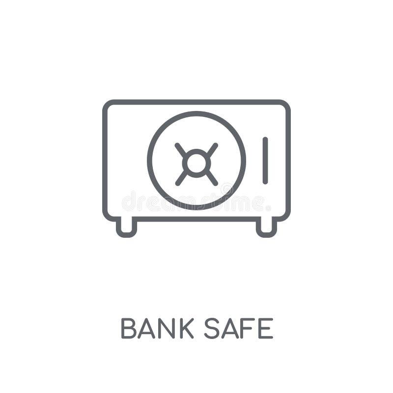 icono linear seguro del banco Concepto seguro del logotipo del banco moderno del esquema encendido stock de ilustración