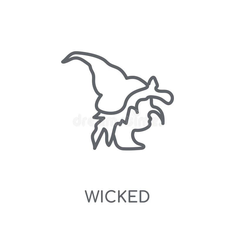 icono linear travieso Concepto travieso del logotipo del esquema moderno en blanco ilustración del vector