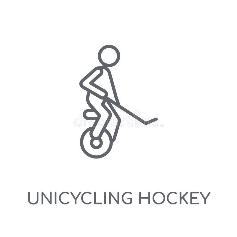 icono linear unicycling del hockey Hockey unicycling del esquema moderno stock de ilustración