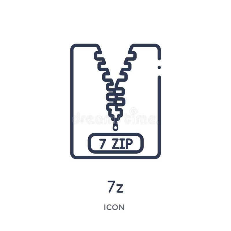 Icono linear 7z de la colección del esquema del tipo de archivo Línea fina vector de 7z aislado en el fondo blanco ejemplo de mod stock de ilustración