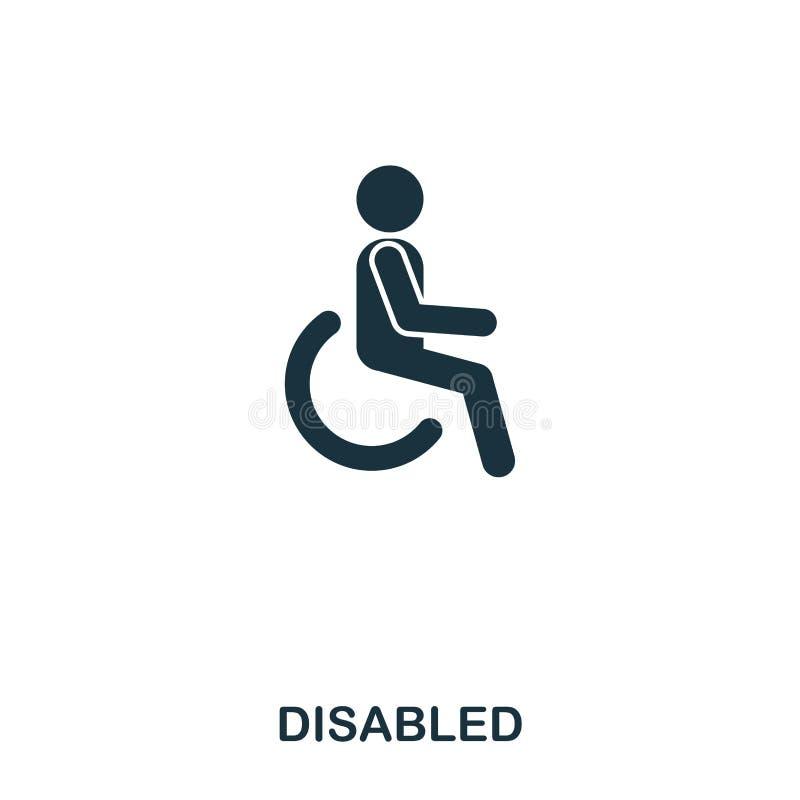 Icono lisiado Línea diseño del icono del estilo Ui Ejemplo del icono discapacitado pictograma aislado en blanco Listo para utiliz ilustración del vector