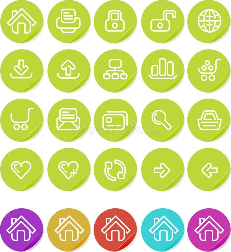 Icono llano de las etiquetas engomadas fijado: Web site e Internet ilustración del vector