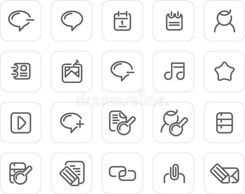Icono llano fijado: Internet y blog ilustración del vector