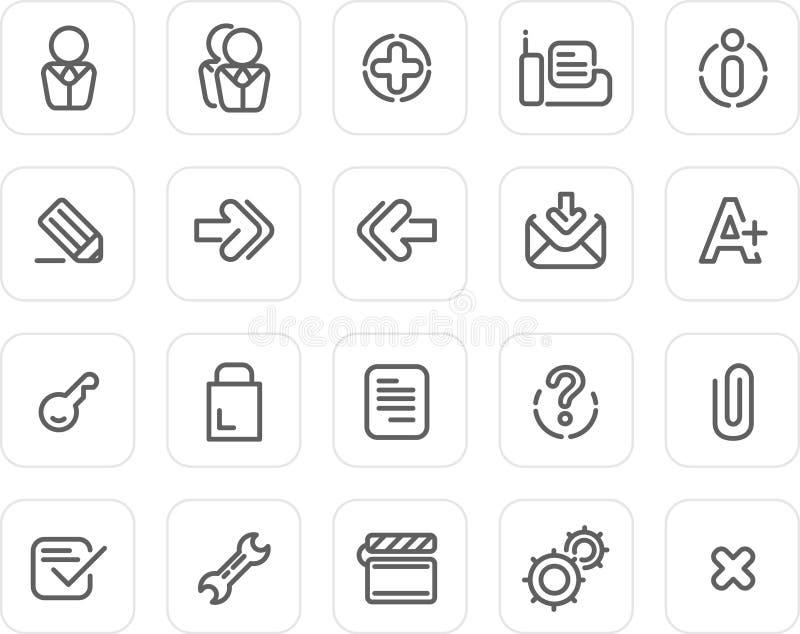 Icono llano fijado: Web site e Internet 2 ilustración del vector