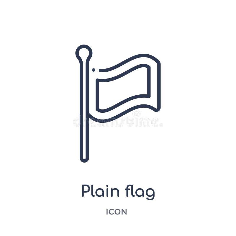 Icono llano linear de la bandera colección del esquema de los mapas y de las banderas Línea fina icono de la bandera del llano ai stock de ilustración