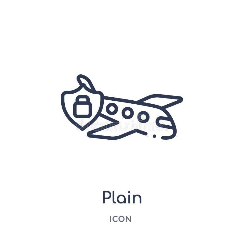 Icono llano linear de la colección del esquema de Gdpr Línea fina icono del llano aislado en el fondo blanco ejemplo de moda llan ilustración del vector