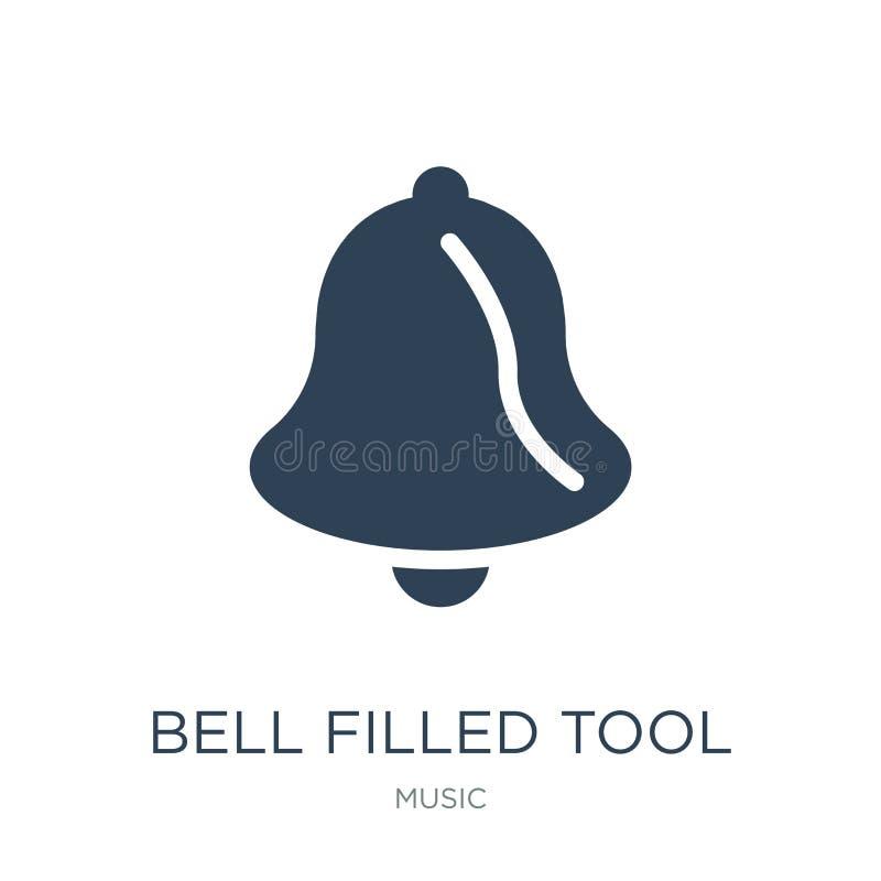 icono llenado campana de la herramienta en estilo de moda del diseño la campana llenó el icono de la herramienta aislado en el fo ilustración del vector