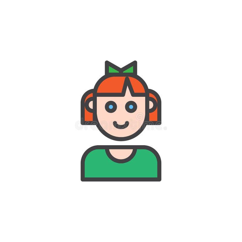 Icono llenado cara del esquema de la muchacha del niño ilustración del vector