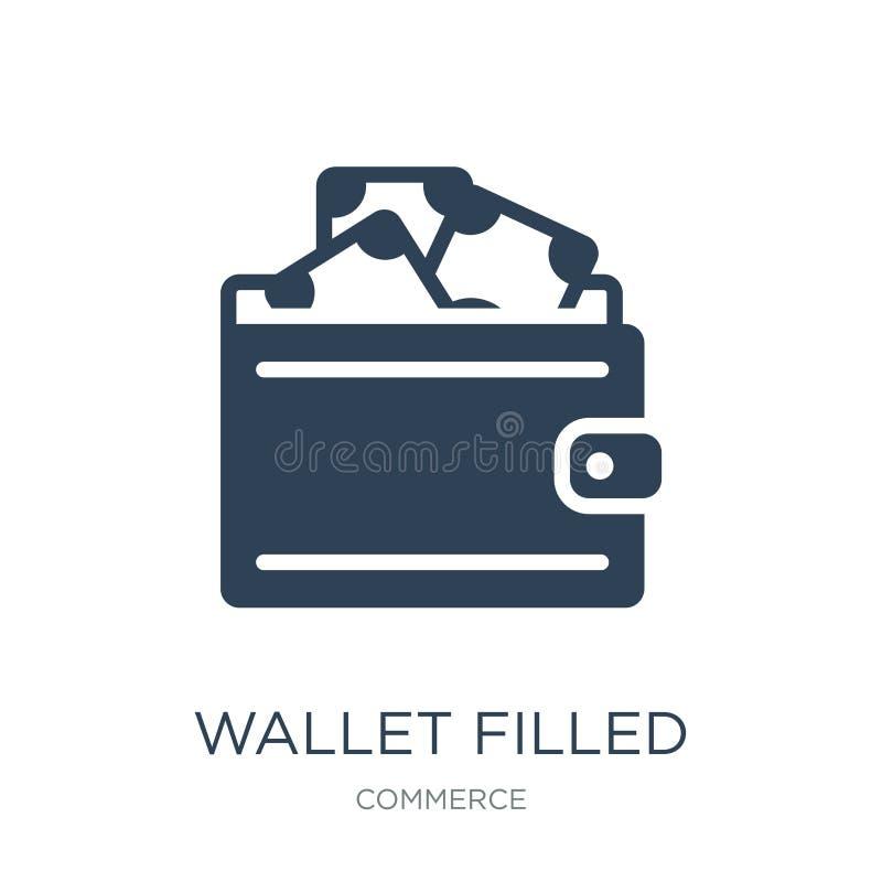 icono llenado cartera de la herramienta del dinero en estilo de moda del diseño la cartera llenó el icono de la herramienta del d ilustración del vector