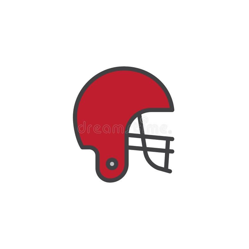 Icono llenado casco de fútbol americano americano del esquema ilustración del vector