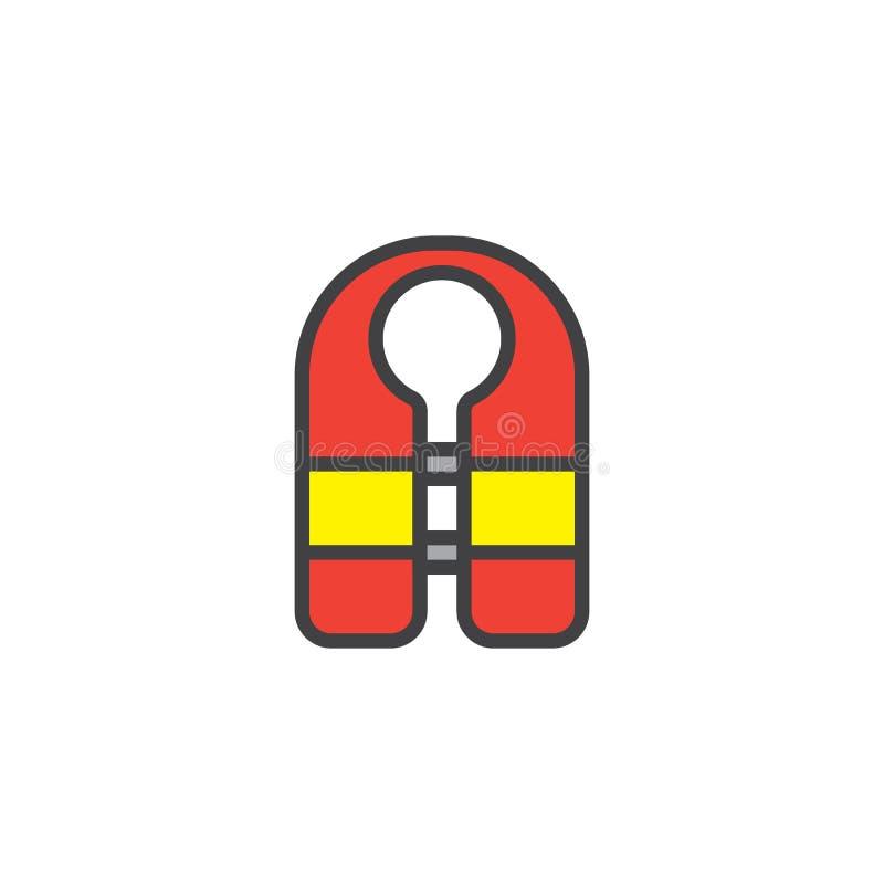 Icono llenado chaleco del esquema del guardia stock de ilustración
