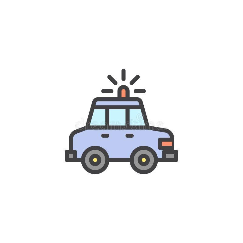 Icono llenado coche policía del esquema ilustración del vector