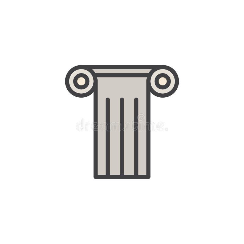 Icono llenado columna antigua del esquema ilustración del vector