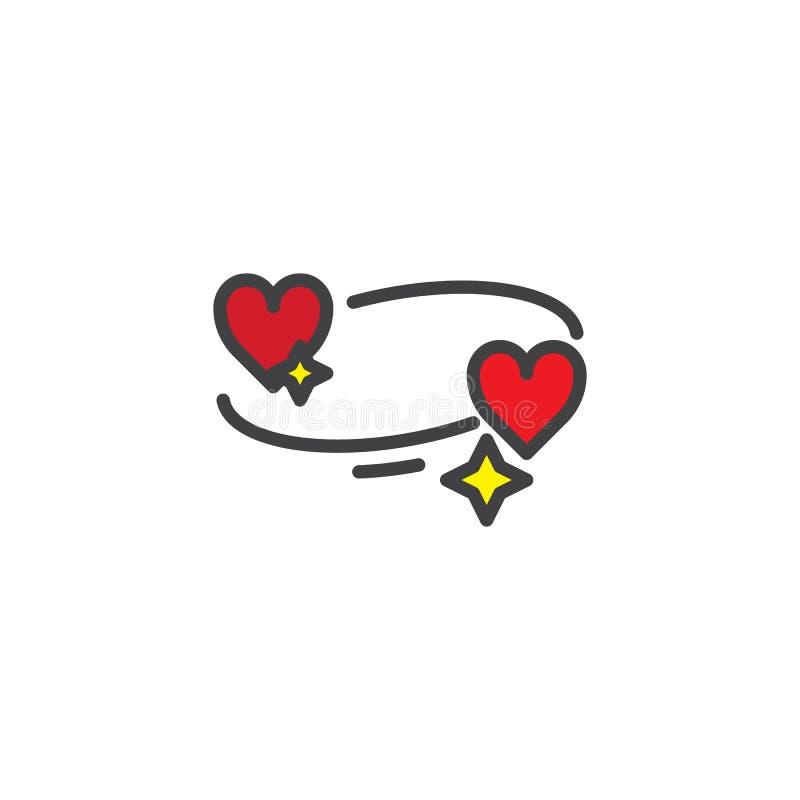 Icono llenado corazones del esquema del amor ilustración del vector