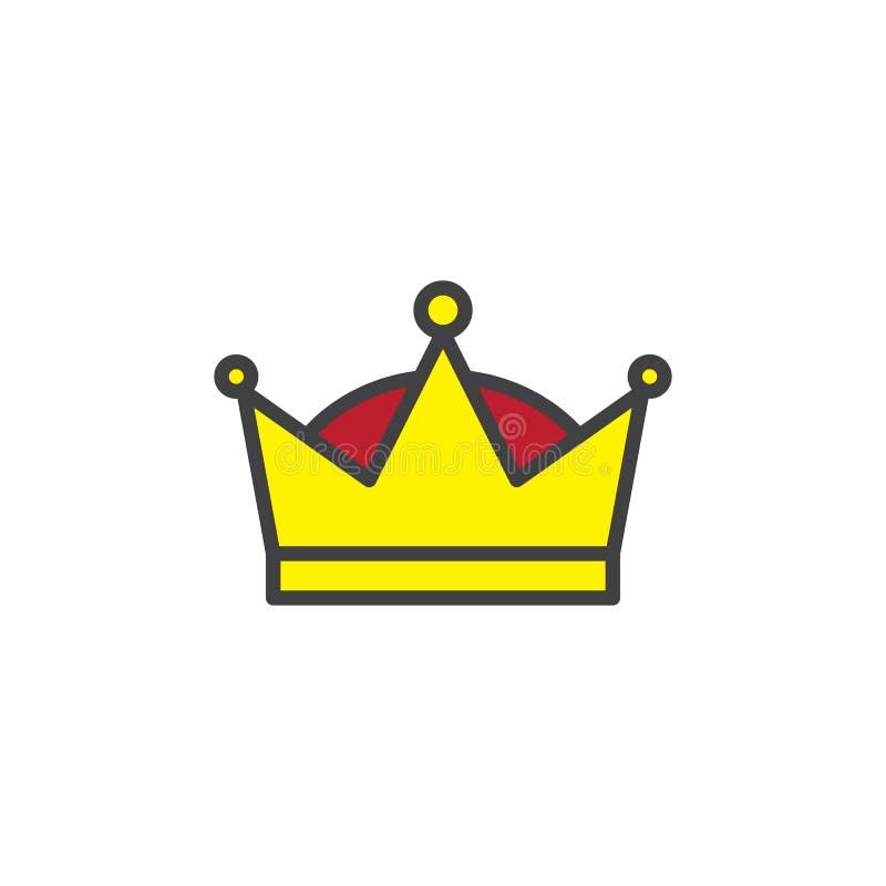 Icono llenado corona del esquema de la reina ilustración del vector
