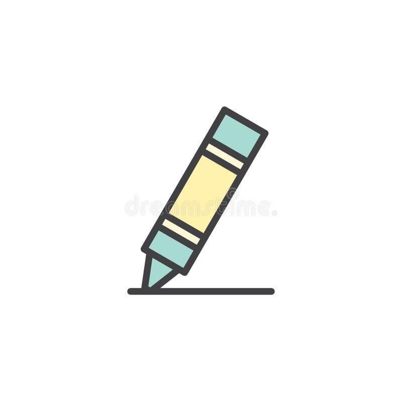 Icono llenado creyón del esquema stock de ilustración