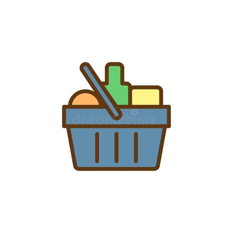 Icono llenado del esquema de la cesta de compras libre illustration