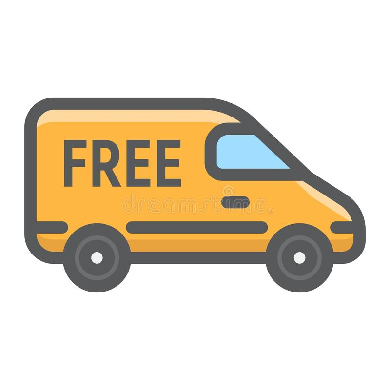 Icono llenado del esquema de Van de entrega, entrega libre illustration