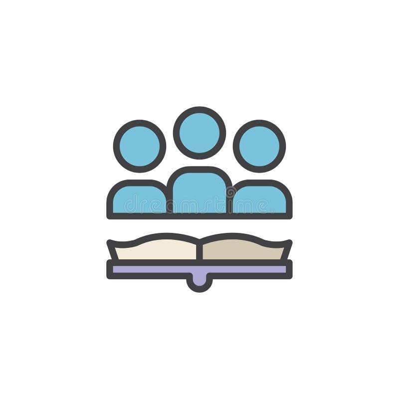 Icono llenado del esquema del libro de lectura de la gente stock de ilustración