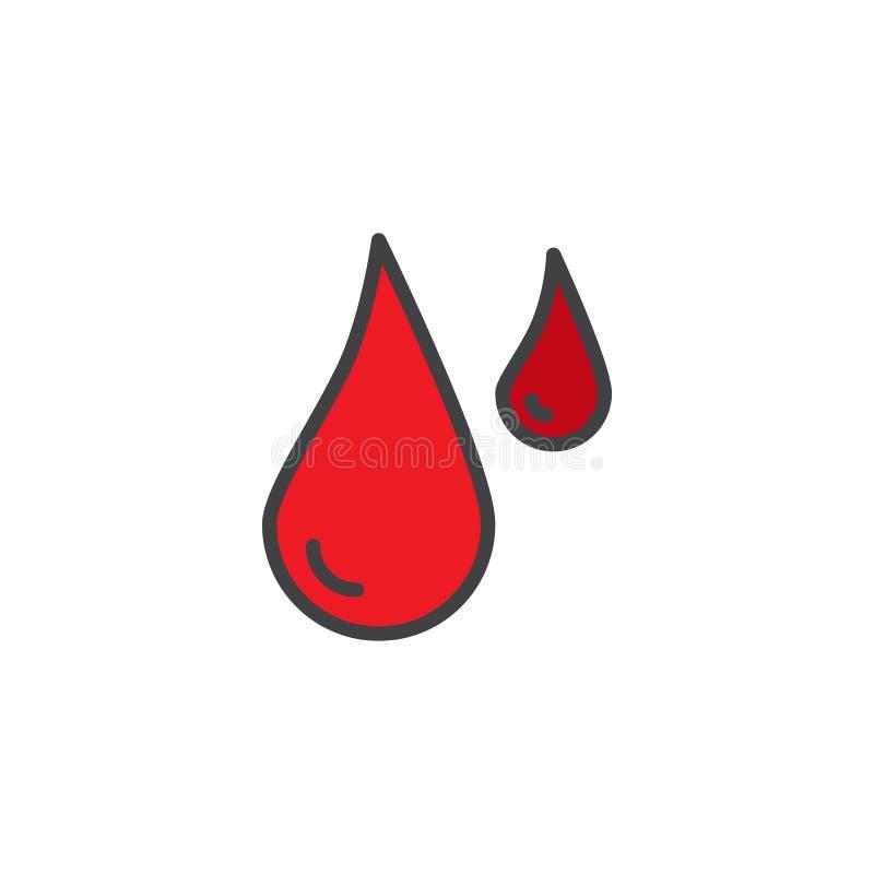 Icono llenado descensos del esquema de la sangre ilustración del vector