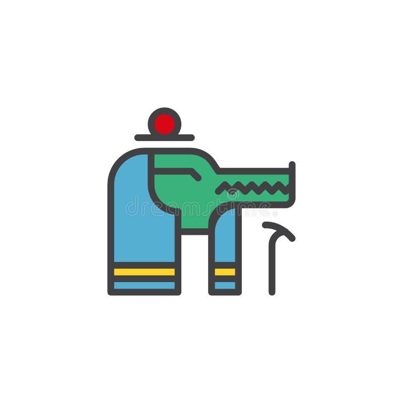 Icono llenado dios del esquema de Sobek Egipto stock de ilustración