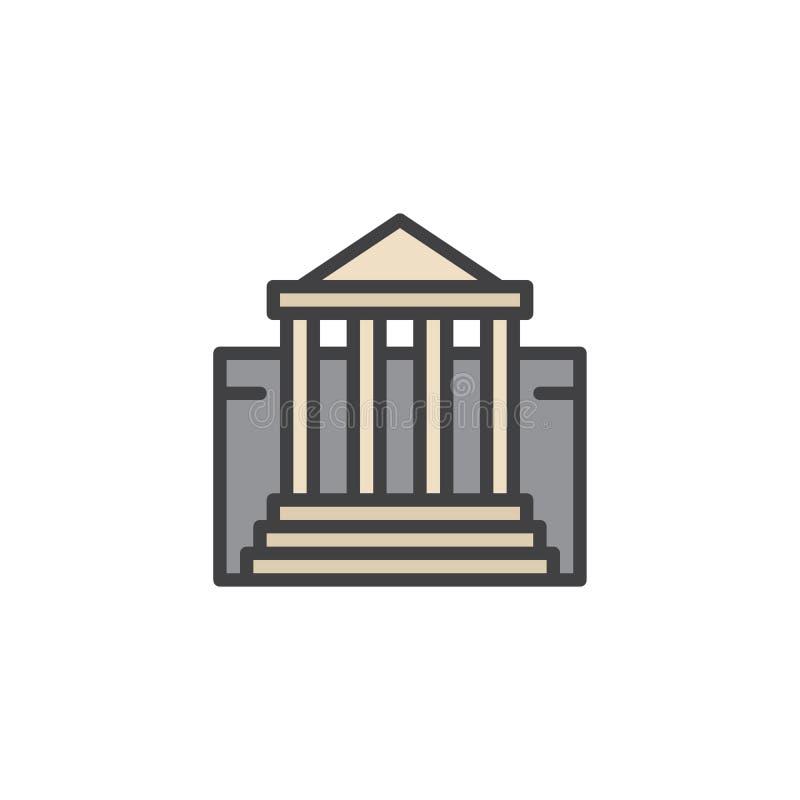 Icono llenado edificio del esquema del museo libre illustration