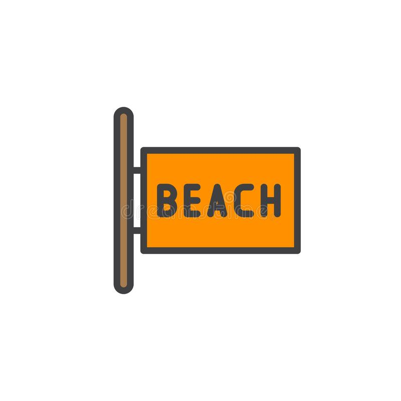 Icono llenado letrero del esquema de la playa ilustración del vector