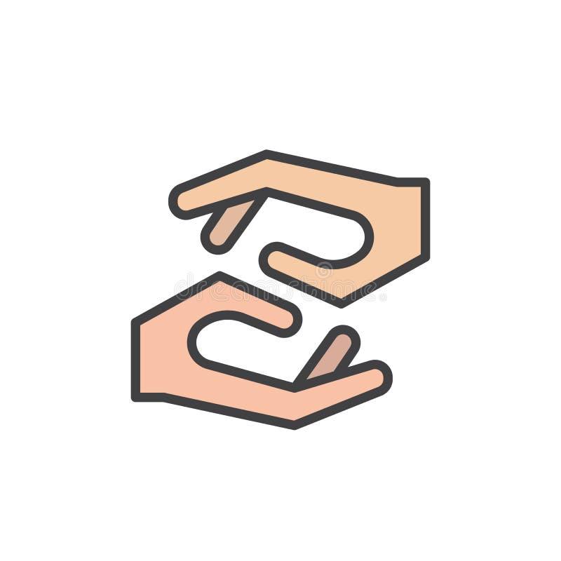 Icono llenado manos del esquema que cuida libre illustration