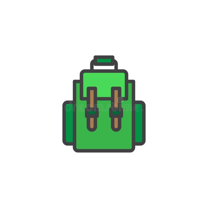 Icono llenado mochila del esquema stock de ilustración
