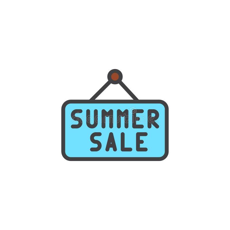 Icono llenado muestra del esquema de la venta del verano ilustración del vector