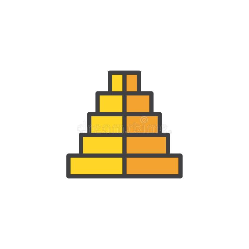 Icono llenado pirámide del esquema stock de ilustración