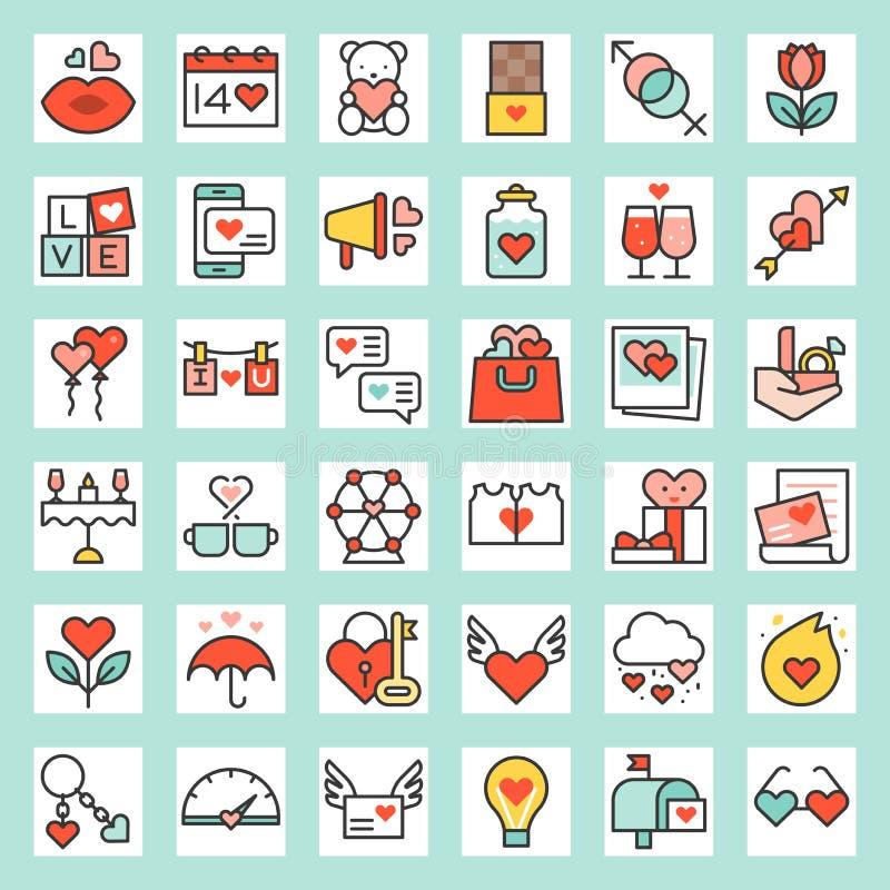 Icono llenado relacionado tarjeta del día de San Valentín del esquema ilustración del vector