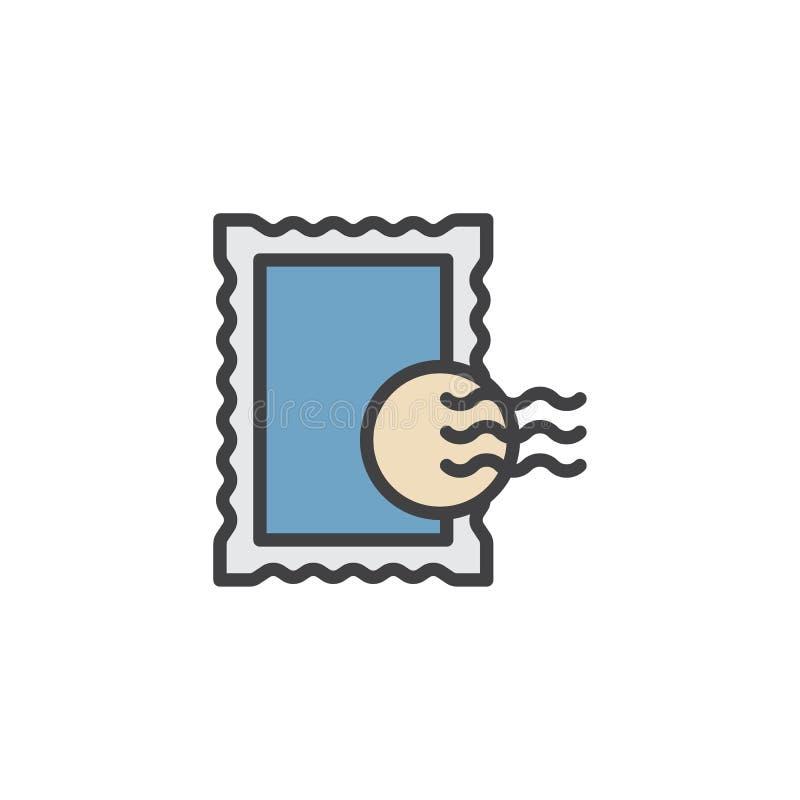 Icono llenado sello del esquema de los posts ilustración del vector