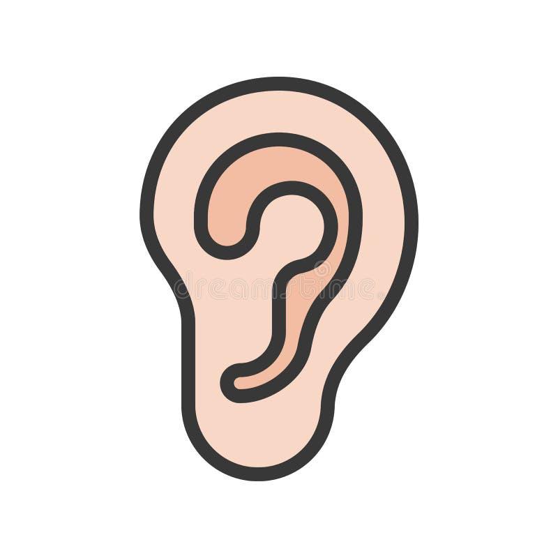 Icono llenado simple del esquema del oído, sistema del órgano stock de ilustración
